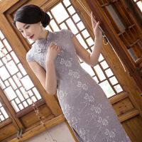 中国风日常长款蕾丝修身良旗袍礼服枫枚丝改良时尚旗袍唐装 711