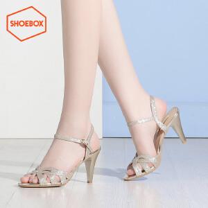 达芙妮集团 鞋柜夏款一字扣带酒杯跟凉鞋女性感高跟鞋