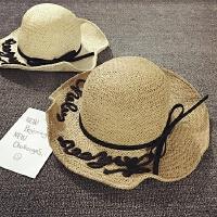 儿童草帽女童大沿沙滩帽夏天潮遮阳帽防晒出游度假可折叠宝宝帽子