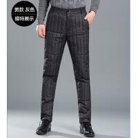 新款冬季男女同款羽绒裤保暖加厚内穿修身内胆白鸭绒中老年羽绒裤 男款 灰色