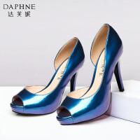 Daphne/达芙妮女鞋 夏季超高跟女单鞋 防水台开边鱼嘴单鞋