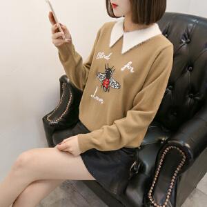 2018新款针织衫女衬衫领卡通图案韩版时尚套头宽松毛衣秋冬外套潮