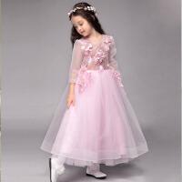女童晚礼服裙 2016儿童礼服公主裙花童礼服婚纱长袖走秀钢琴演出服
