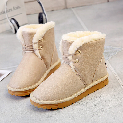 环球冬季加绒保暖棉鞋女2017新款短靴休闲女鞋学生平底短筒雪地靴
