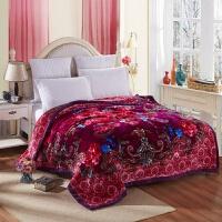 婚庆拉舍尔毛毯压花双人毯子加厚保暖双层结婚大红色床上用品云毯 200cmx230cm约6.8斤