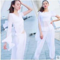 性感网纱透视运动中长袖瑜伽服健身房运动套装健身服女两件套