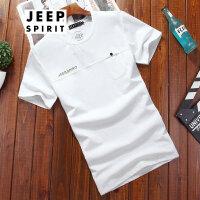 吉普JEEP夏装短袖T恤薄款舒适夏款打底衫户外工装男士短t运动休闲百搭
