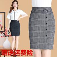格子半身裙女2018春夏新款韩版高腰不规则短款一步裙包臀职场中裙