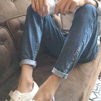 春装字母绣花牛仔裤日系复古男士哈伦裤韩版青少年小脚裤子潮男裤