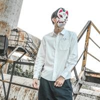 日系夏季薄款白色清新长袖衬衫男猫咪印花韩版上衣衬衣青少年