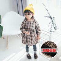 童裙秋冬季新款童装女童格子连衣裙3岁宝宝加绒加厚裙子179412