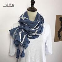 雾霾蓝色棉麻围巾女秋冬新品百搭长款保暖丝巾披肩两用纱巾围脖 蓝色