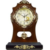 欧式客厅仿古座钟摇摆钟 时尚创意木质座钟仿古田园摇摆静音石英表书桌摆钟客厅时钟