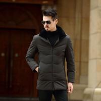 秋冬新品羽绒服男中长款外套鸭绒中年爸爸装立领韩版修身大码加厚