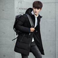 羽绒服男冬季连帽中长款潮流韩版修身款男士加厚外套男款羽绒大衣 黑色