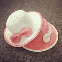 儿童夏天遮阳帽女童草帽沙滩帽度假遮阳帽可折叠韩版蝴蝶结大沿帽