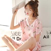 短袖可爱女士纯棉绸绵绸家居服夏春季人造棉布睡衣薄款套装空调服 粉红色 短袖花朵粉
