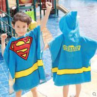 泳浴巾速干吸水儿童超人蝙蝠侠带帽斗篷宝宝披风浴袍浴衣毛巾