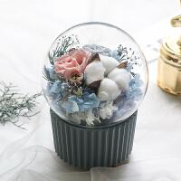 永生花礼盒兔子 永生花礼盒兔子摆件玻璃罩玫瑰水晶球旋转音乐盒日本情人节礼物