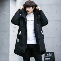 新款羽绒服男中长款冬季韩版加厚男士学生连帽休闲大衣外套潮 黑色
