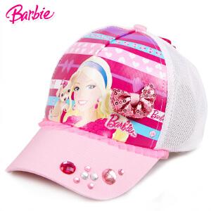 芭比女孩儿童遮阳棒球学生卡通帽子春夏款鸭舌帽网眼透气