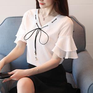AGECNETRE 2018雪纺衫短袖女2018新款夏季韩版V领上衣宽松蝴蝶结小衫