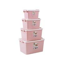 衣柜塑料收纳箱衣服整理箱加厚衣物玩具收纳盒有盖周转箱 四件套