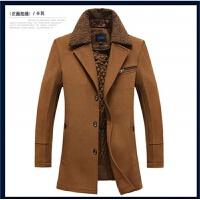 男士中长款羊毛呢大衣秋冬男装风衣羊绒加厚修身中年呢子外套