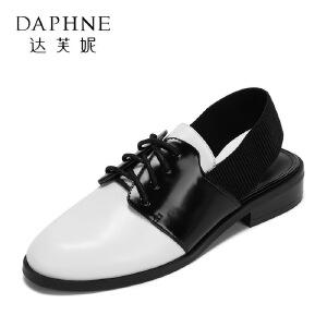 达芙妮 vivifleurs春夏日系优雅尖头系带女鞋 时尚拼色方跟平底鞋