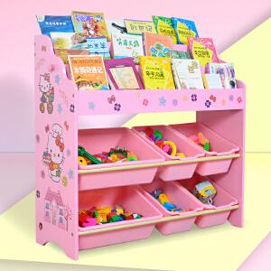 儿童收纳 家用多功能男女孩木制玩具收纳置物图书绘本架子幼儿园宝宝储物柜玩具整理箱满额减限时抢儿童