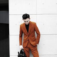 男装纯色韩国英伦复古男士西装修身欧美西服单排套装两件套潮 焦糖色西装+西裤套装