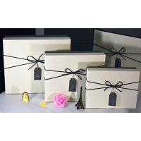 新品长方形大号韩版生日礼物盒礼盒包装盒精美礼盒礼品包装盒 米白色 米白盖灰底