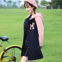 秋冬季韩版初中学生棒球服外套女中长款加厚卫衣女秋装学院风