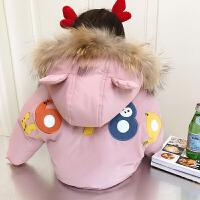 宝宝棉衣女1-6岁冬装加厚外套公主小童加绒连帽羽绒棉袄保暖 1码 身高约80cm