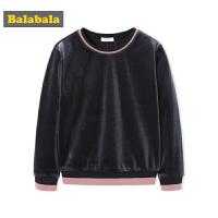 巴拉巴拉女童打底衫中大童儿童秋装女长袖T恤2018新款丝绒卫衣潮