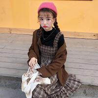 春季女装韩版气质小清新收腰显瘦格子中长款背带裙无袖连衣裙长裙