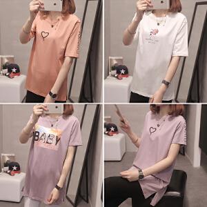 RANJU 然聚2018女装夏季新品新款短袖T恤女韩版学生宽松白色T恤半袖女