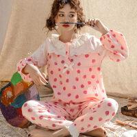 1217夏季新款长袖睡衣纯棉双层纱布月子服哺乳衣套装