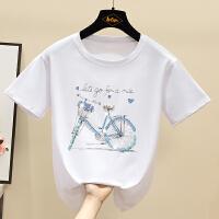 Lee Cooper 【珠片装饰自行车图案】夏季新品时尚个性减龄圆领短袖女式T恤