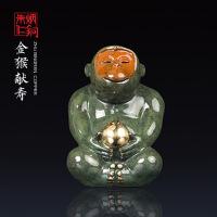 朱炳仁铜  金猴献寿 十二生肖彩色金猴献寿创意铜雕摆件 家居饰品工艺品正品 礼品馈赠