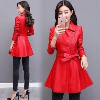 小皮衣女原宿外套韩版中长款显瘦红色妈妈装水洗皮潮修身收腰风衣