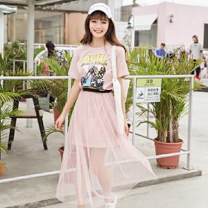 【超值两件套装】学生套装裙女2018夏季新款韩版印花收腰显瘦中长款网纱两件套连衣裙