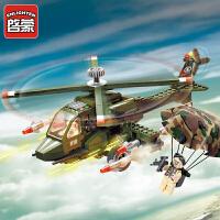 启蒙积木儿童7玩具军事直升飞机人仔男孩5拼装610岁