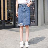 2018新款牛仔裙女夏破洞半身裙韩版高腰短裙夏季中长款学生中裙