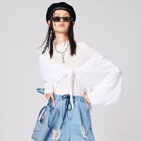太平鸟短款系带衬衫女2020春季新款纯色蝙蝠袖上衣衬衫A3CA93A03