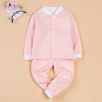 2017婴儿服装春夏欧式纽扣儿童睡衣 夏套装纯棉新生儿服装