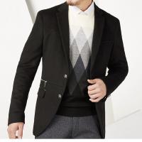 老王剪标男装秋冬新款时尚商务休闲含羊毛呢休闲西服黑色外套 黑色