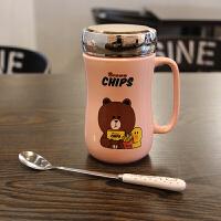 创意韩国女生办公室家用可爱咖啡杯卡通泡茶喝水杯大容量带盖勺子