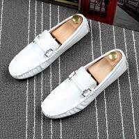 夏季豆豆鞋男白色套脚懒人鞋透气舒适软底驾车鞋青年百搭潮流男鞋