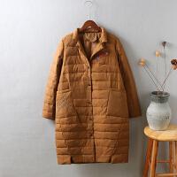T8冬装新款羽绒服女轻薄中长款西装领贴布刺绣修身显瘦0.6